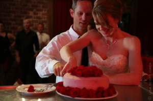Red Room - The Mark - Event Planning - red room wedding , cake cutting