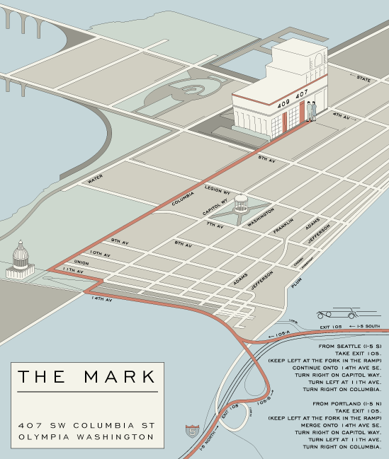map for the mark olympia by artist rachel carns